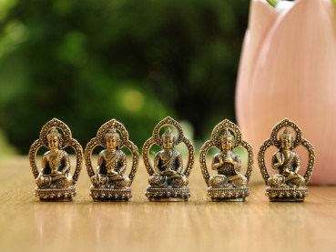 Die 5 Meditations-Buddhas Mini Figuren Set aus Messing (5cm)